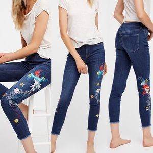 Free People Bird Floral Embroidered Skinny Jeans